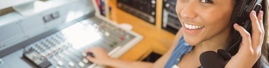 girl editing audio